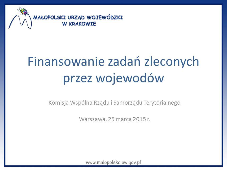 Finansowanie zadań zleconych przez wojewodów Komisja Wspólna Rządu i Samorządu Terytorialnego Warszawa, 25 marca 2015 r.