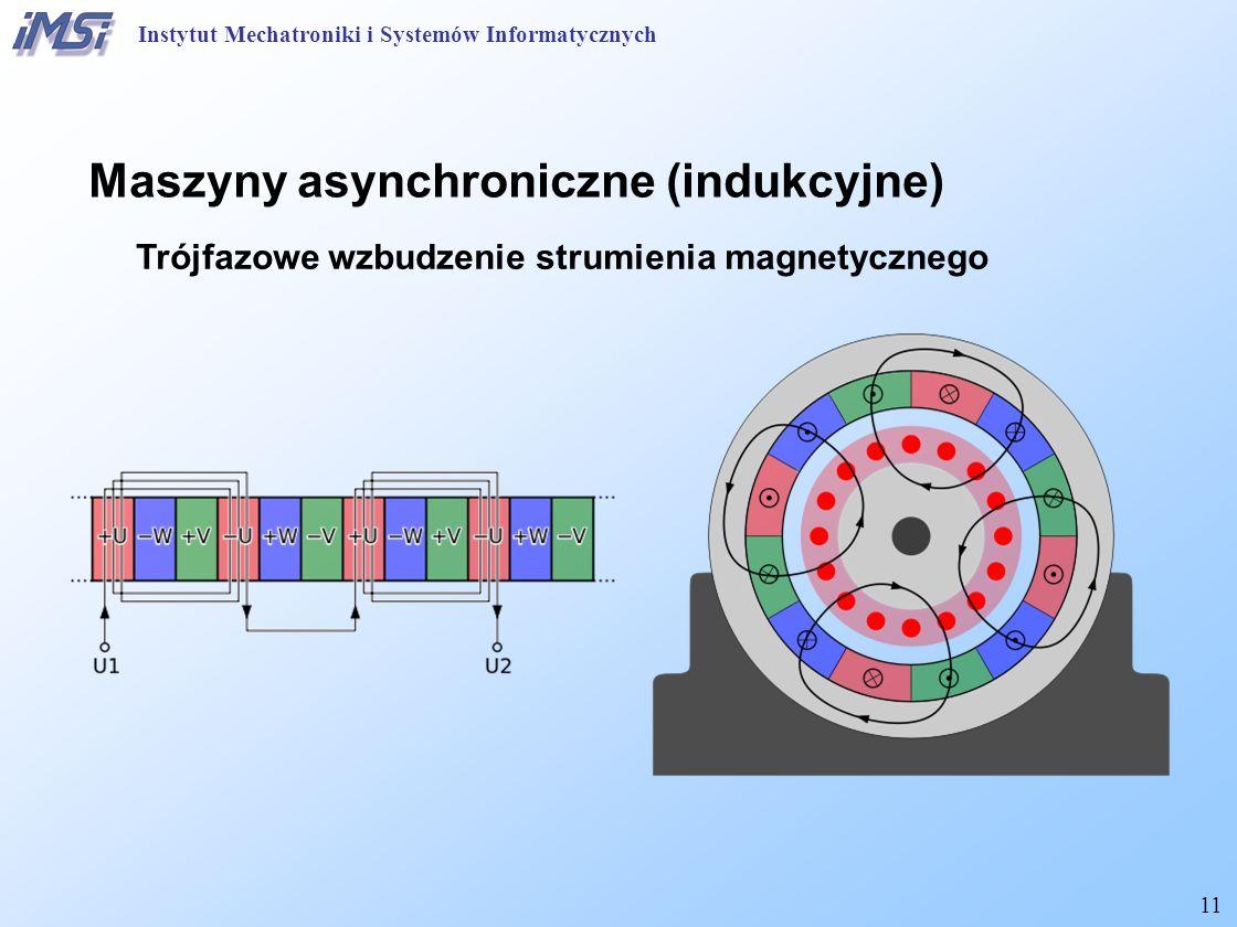 11 Maszyny asynchroniczne (indukcyjne) Trójfazowe wzbudzenie strumienia magnetycznego Instytut Mechatroniki i Systemów Informatycznych