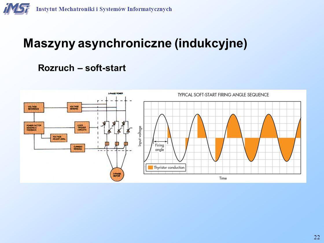 22 Maszyny asynchroniczne (indukcyjne) Rozruch – soft-start Instytut Mechatroniki i Systemów Informatycznych