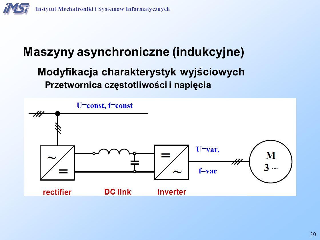 30 Maszyny asynchroniczne (indukcyjne) Modyfikacja charakterystyk wyjściowych Przetwornica częstotliwości i napięcia rectifier inverterDC link Instytut Mechatroniki i Systemów Informatycznych