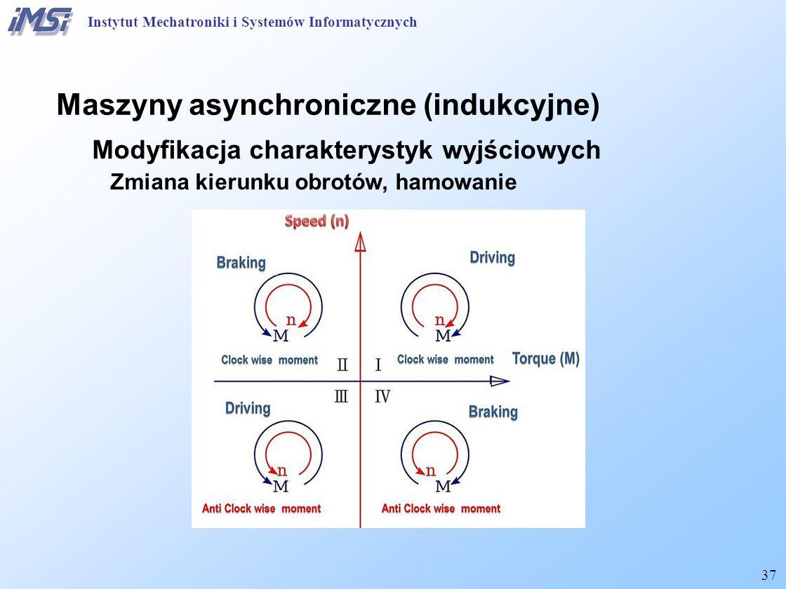 37 Maszyny asynchroniczne (indukcyjne) Modyfikacja charakterystyk wyjściowych Zmiana kierunku obrotów, hamowanie Instytut Mechatroniki i Systemów Informatycznych