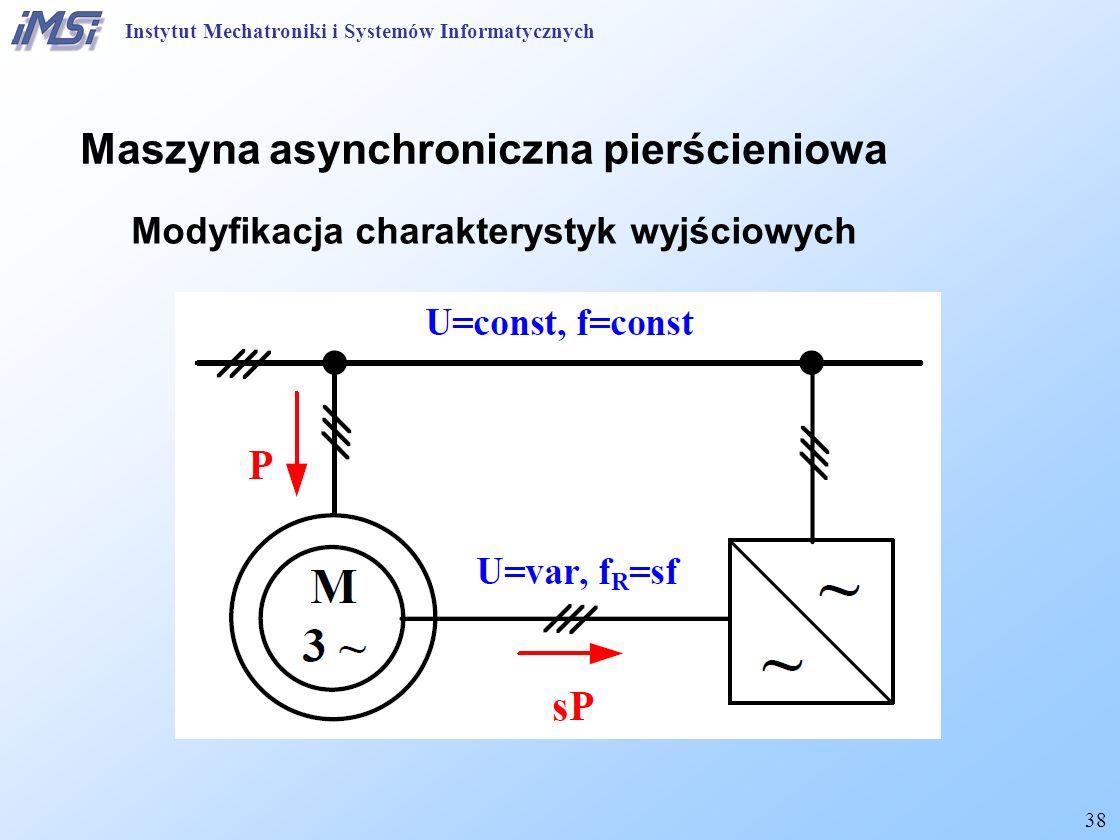 38 Maszyna asynchroniczna pierścieniowa Modyfikacja charakterystyk wyjściowych Instytut Mechatroniki i Systemów Informatycznych