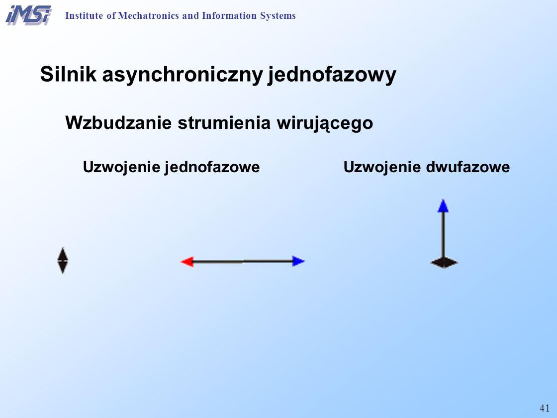 41 Institute of Mechatronics and Information Systems Silnik asynchroniczny jednofazowy Wzbudzanie strumienia wirującego Uzwojenie jednofazowe Uzwojenie dwufazowe
