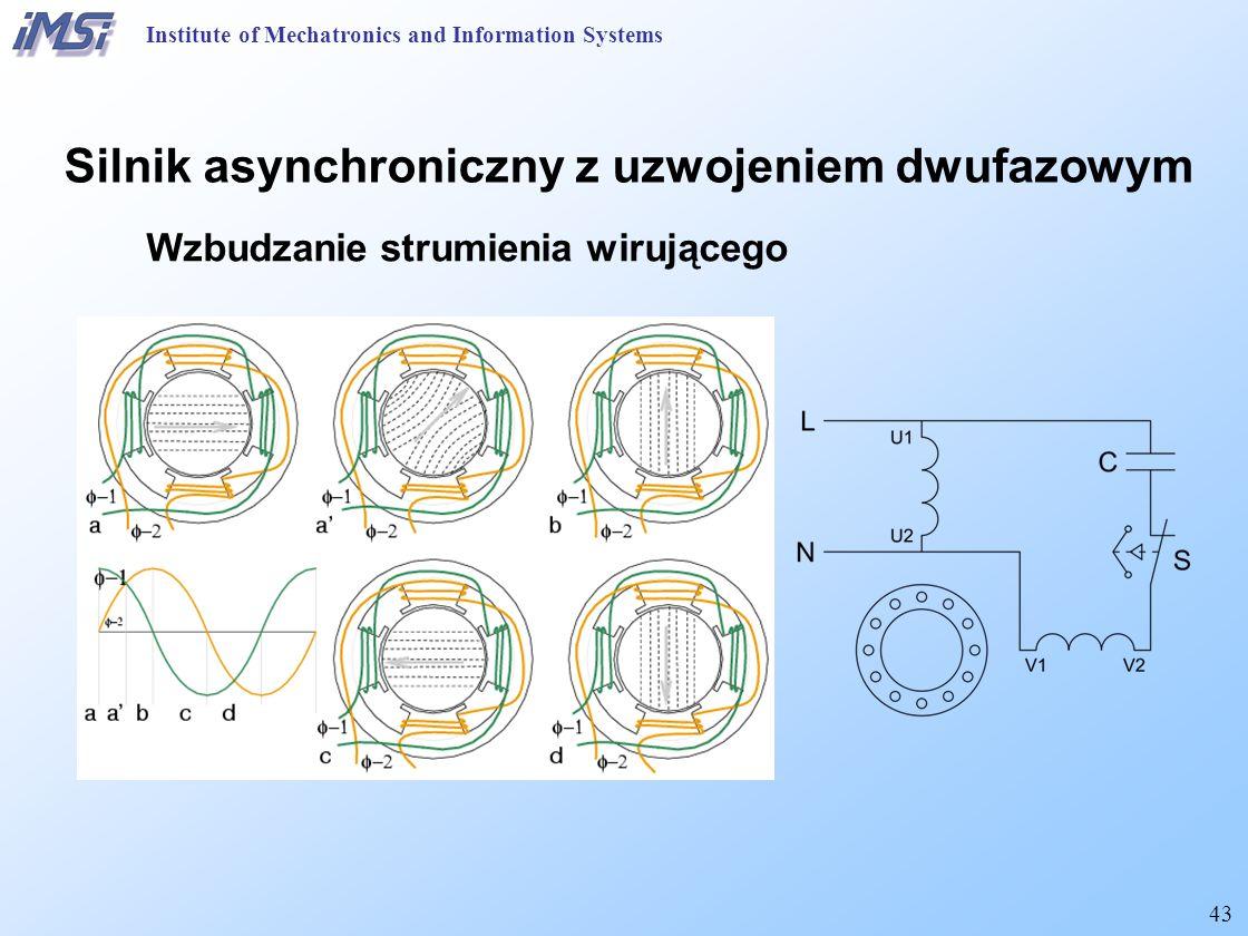 43 Institute of Mechatronics and Information Systems Silnik asynchroniczny z uzwojeniem dwufazowym Wzbudzanie strumienia wirującego