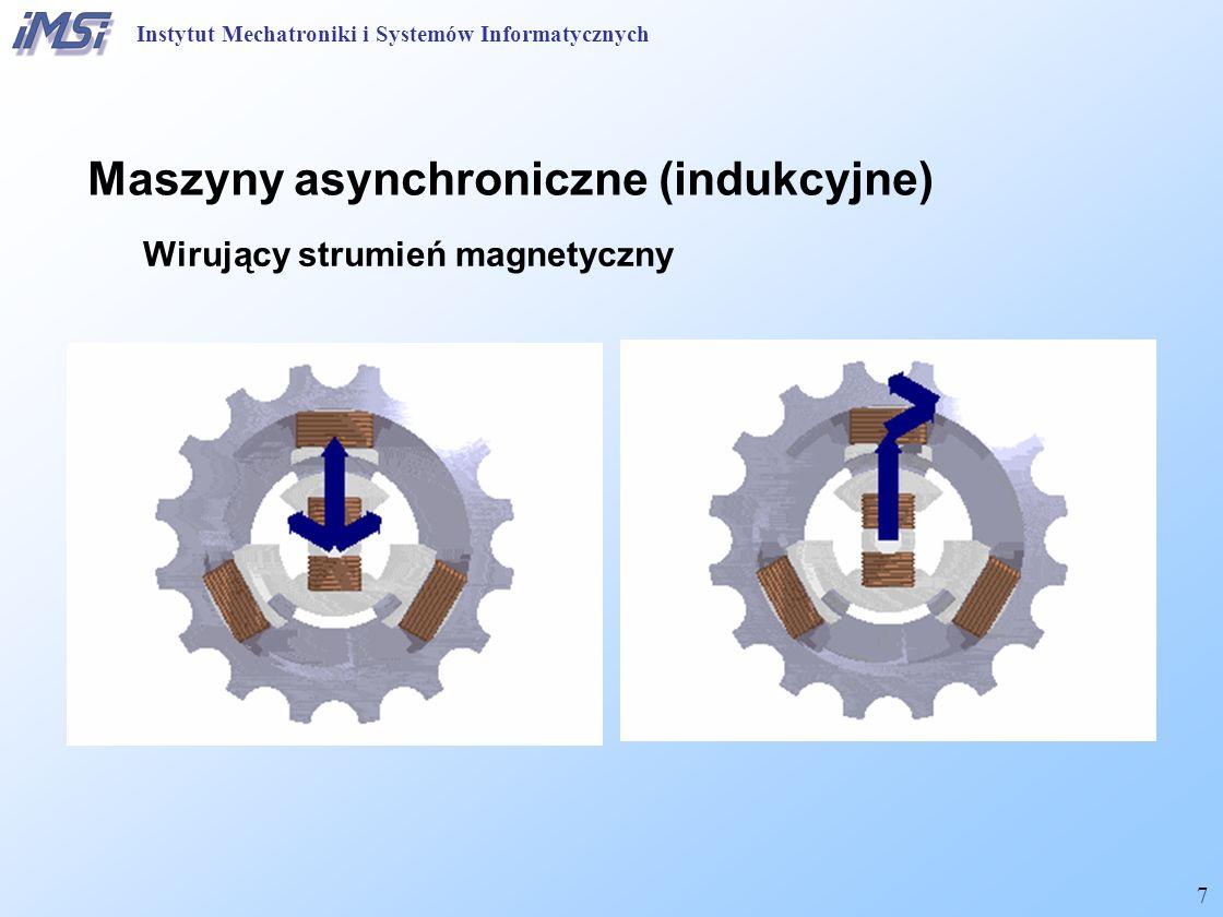 18 Maszyny asynchroniczne (indukcyjne) Równania uproszczone Moment elektromagnetyczny, wzór Kloss'a: stąd moment rozruchowy: Przeciążalność momentem: Instytut Mechatroniki i Systemów Informatycznych