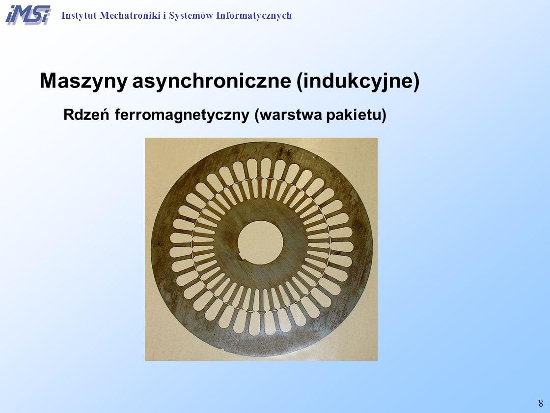 8 Maszyny asynchroniczne (indukcyjne) Rdzeń ferromagnetyczny (warstwa pakietu) Instytut Mechatroniki i Systemów Informatycznych