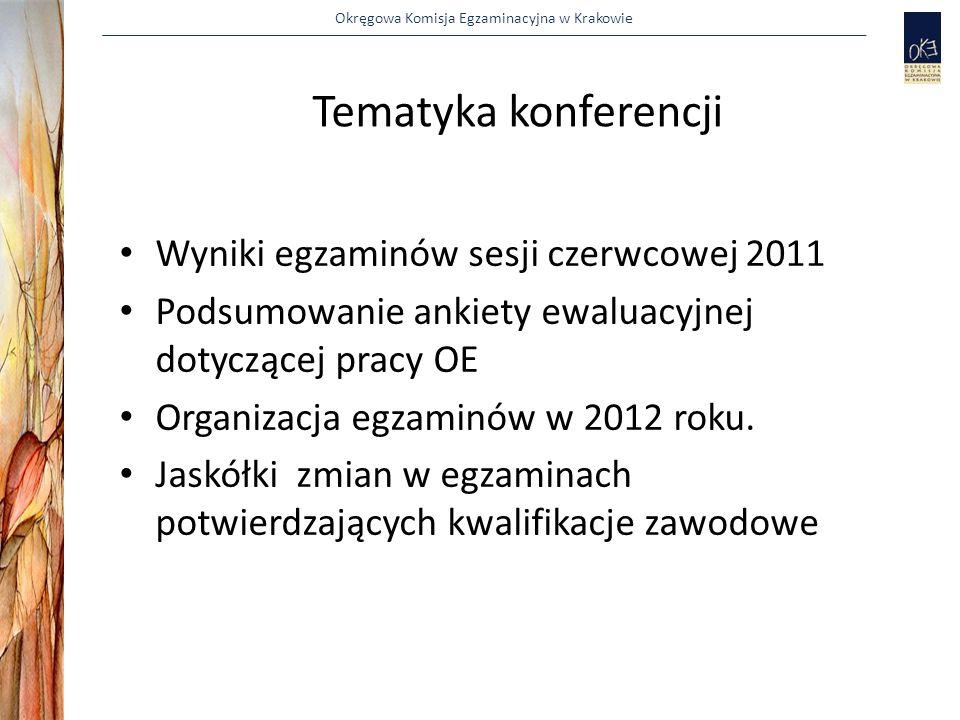Okręgowa Komisja Egzaminacyjna w Krakowie WYNIKI SESJI CZERWCOWEJ 2011