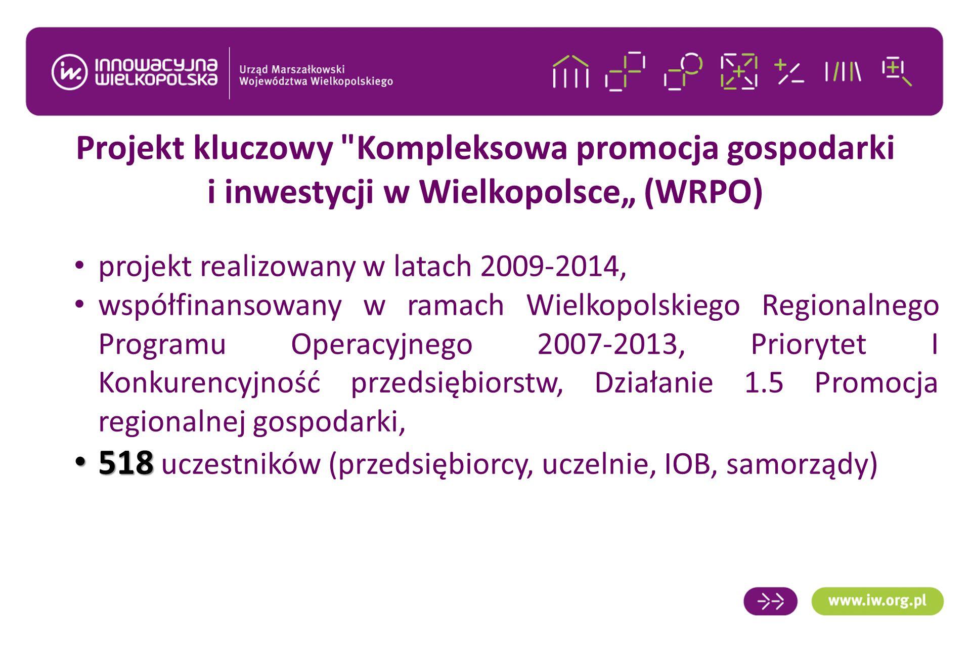 """Projekt kluczowy Kompleksowa promocja gospodarki i inwestycji w Wielkopolsce"""" (WRPO) projekt realizowany w latach 2009-2014, współfinansowany w ramach Wielkopolskiego Regionalnego Programu Operacyjnego 2007-2013, Priorytet I Konkurencyjność przedsiębiorstw, Działanie 1.5 Promocja regionalnej gospodarki, 518 518 uczestników (przedsiębiorcy, uczelnie, IOB, samorządy)"""