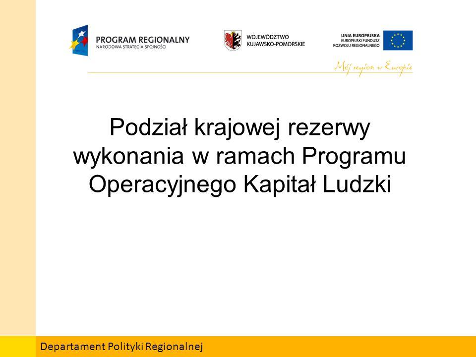 Departament Polityki Regionalnej Podział krajowej rezerwy wykonania w ramach Programu Operacyjnego Kapitał Ludzki