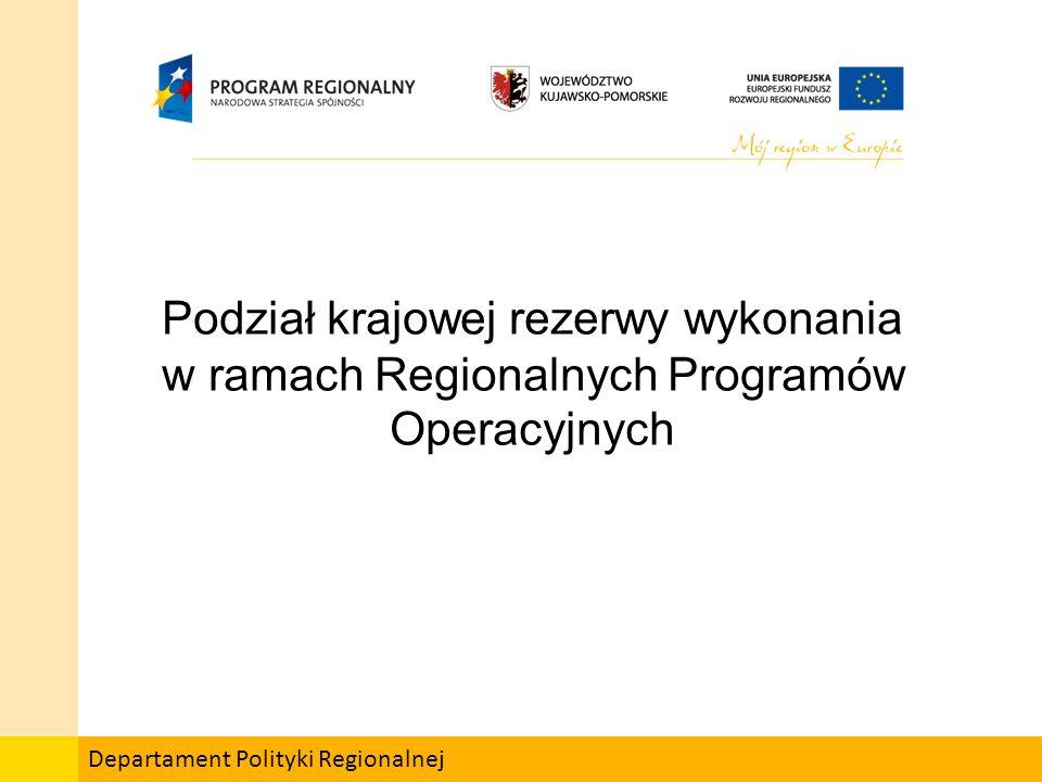 Departament Polityki Regionalnej Podział krajowej rezerwy wykonania w ramach Regionalnych Programów Operacyjnych