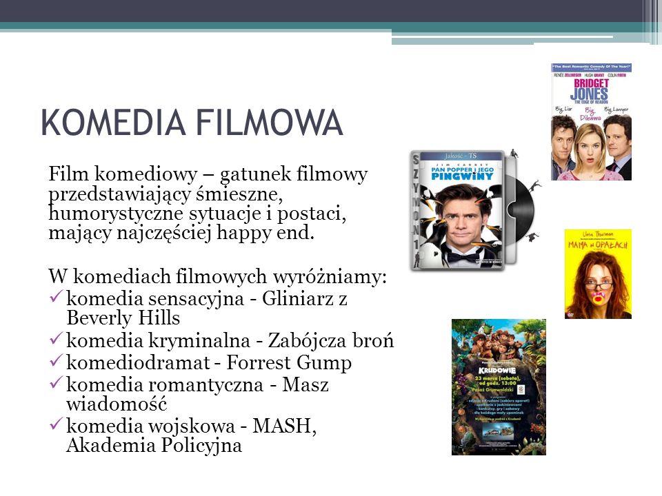 KOMEDIA FILMOWA Film komediowy – gatunek filmowy przedstawiający śmieszne, humorystyczne sytuacje i postaci, mający najczęściej happy end.