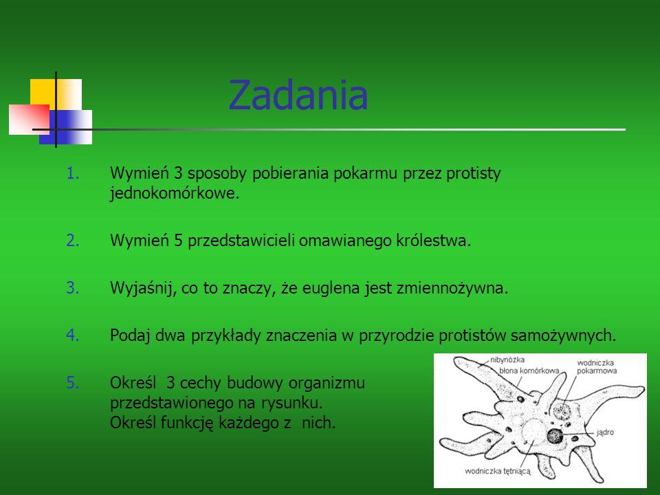 Zadania 1.Wymień 3 sposoby pobierania pokarmu przez protisty jednokomórkowe.