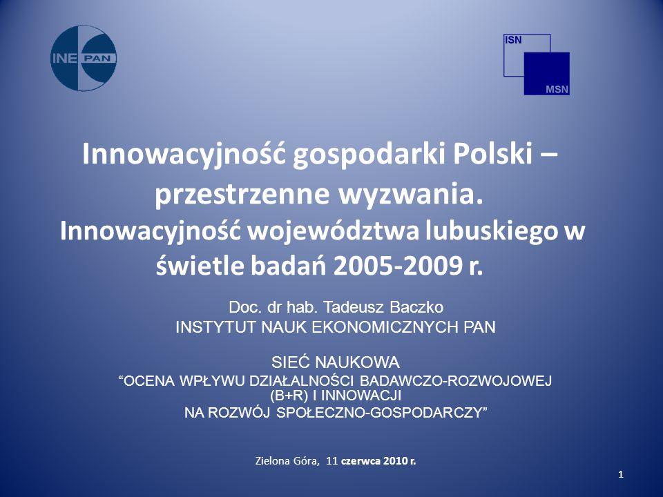 Innowacyjność gospodarki Polski – przestrzenne wyzwania.