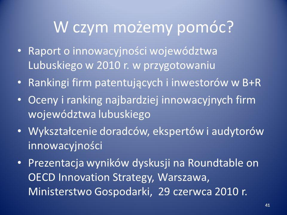 W czym możemy pomóc. Raport o innowacyjności województwa Lubuskiego w 2010 r.