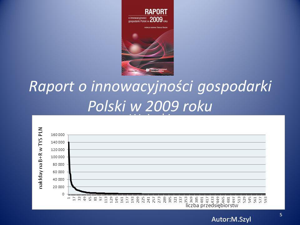 Raport o innowacyjności gospodarki Polski w 2009 roku Wnioski Autor:M.Szyl 5