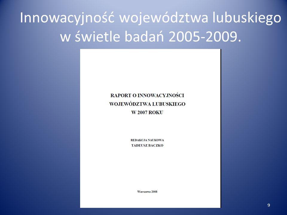 Innowacyjność województwa lubuskiego w świetle badań 2005-2009. 9