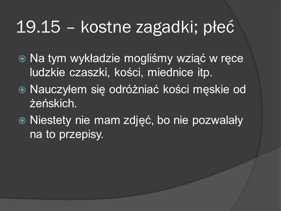 19.15 – kostne zagadki; płeć  Na tym wykładzie mogliśmy wziąć w ręce ludzkie czaszki, kości, miednice itp.