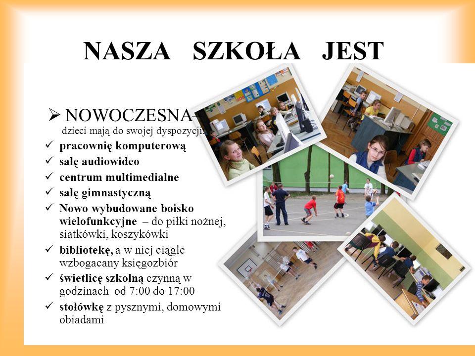 NASZA SZKOŁA JEST  NOWOCZESNA– dzieci mają do swojej dyspozycji: pracownię komputerową salę audiowideo centrum multimedialne salę gimnastyczną Nowo w