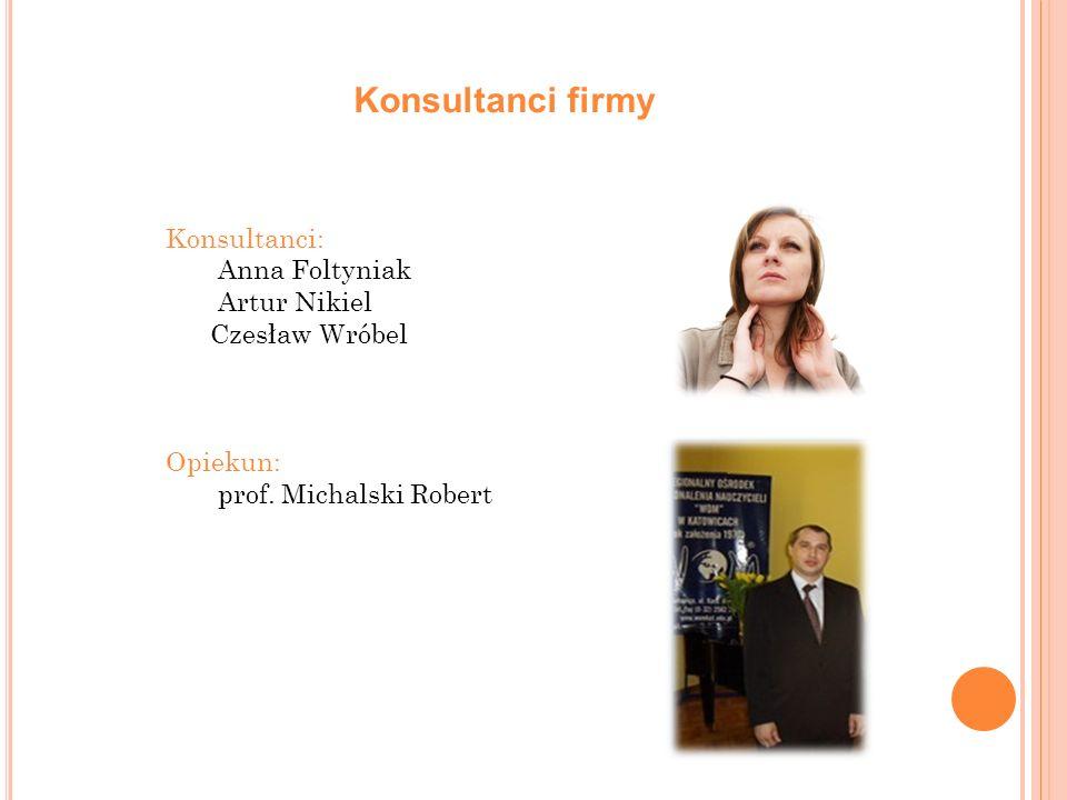 Konsultanci firmy Konsultanci: Anna Foltyniak Artur Nikiel Czesław Wróbel Opiekun: prof. Michalski Robert