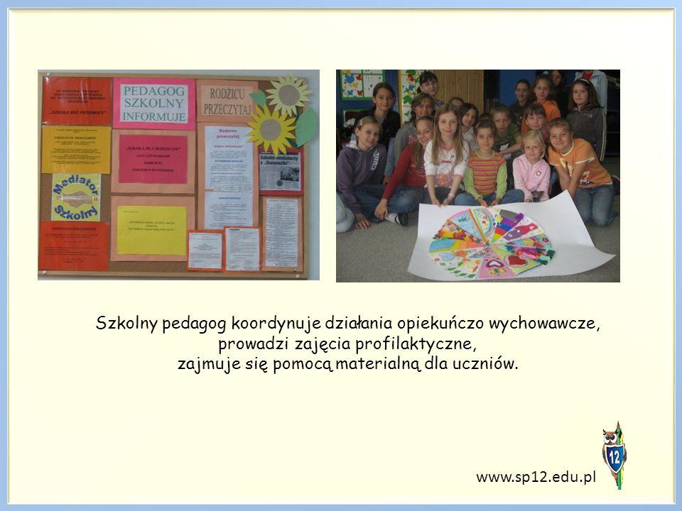 Szkolny pedagog koordynuje działania opiekuńczo wychowawcze, prowadzi zajęcia profilaktyczne, zajmuje się pomocą materialną dla uczniów. www.sp12.edu.