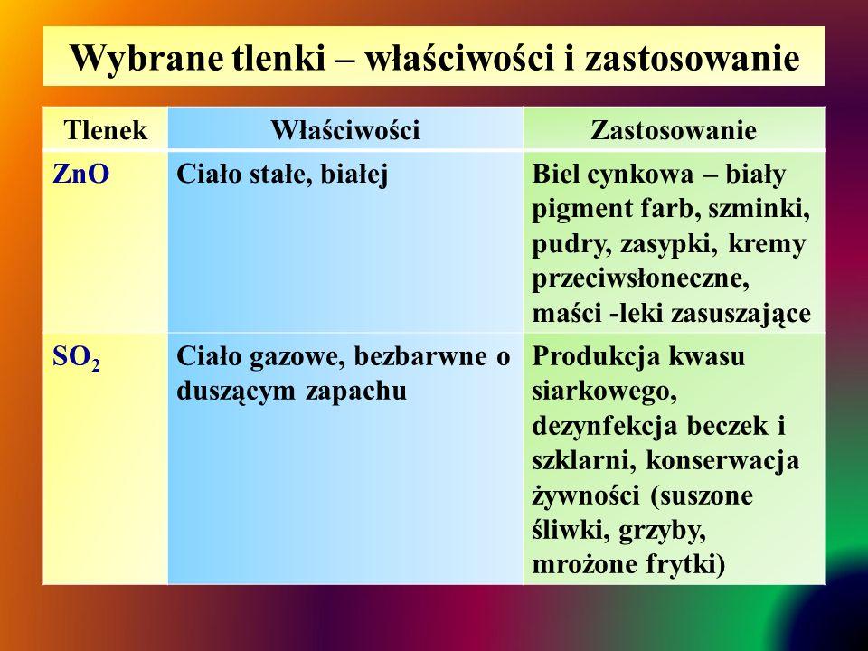 Wybrane tlenki – właściwości i zastosowanie TlenekWłaściwościZastosowanie ZnOCiało stałe, białejBiel cynkowa – biały pigment farb, szminki, pudry, zasypki, kremy przeciwsłoneczne, maści -leki zasuszające SO 2 Ciało gazowe, bezbarwne o duszącym zapachu Produkcja kwasu siarkowego, dezynfekcja beczek i szklarni, konserwacja żywności (suszone śliwki, grzyby, mrożone frytki)