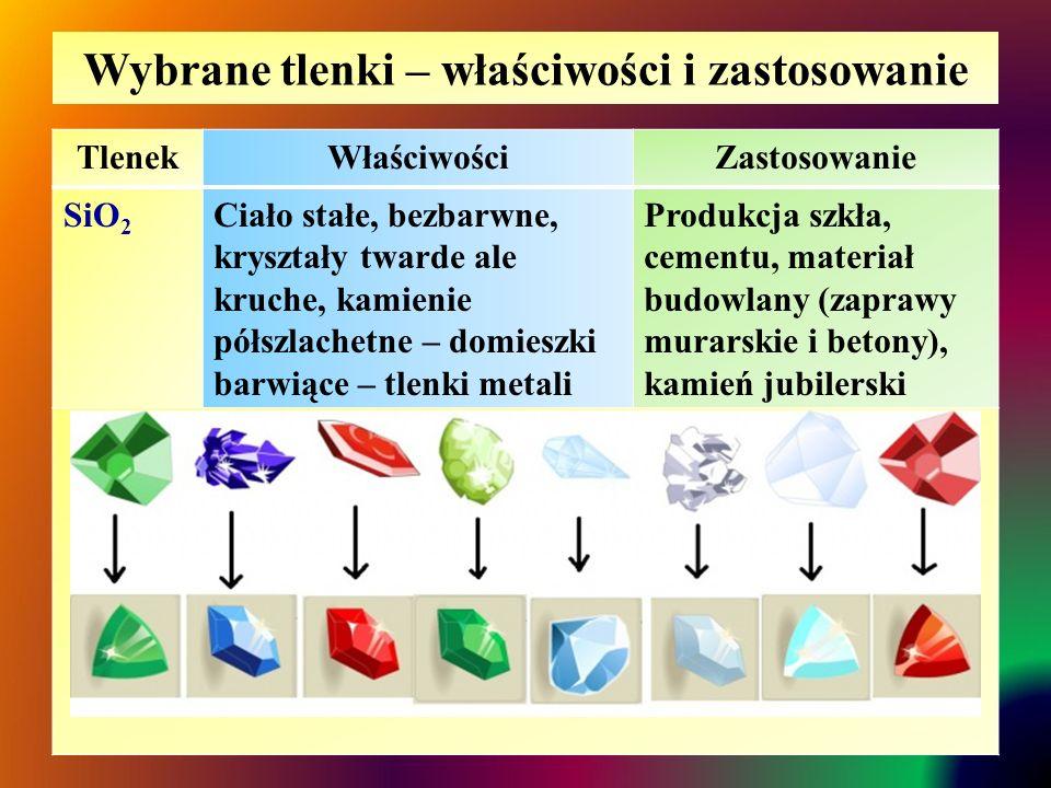 Wybrane tlenki – właściwości i zastosowanie TlenekWłaściwościZastosowanie SiO 2 Ciało stałe, bezbarwne, kryształy twarde ale kruche, kamienie półszlac