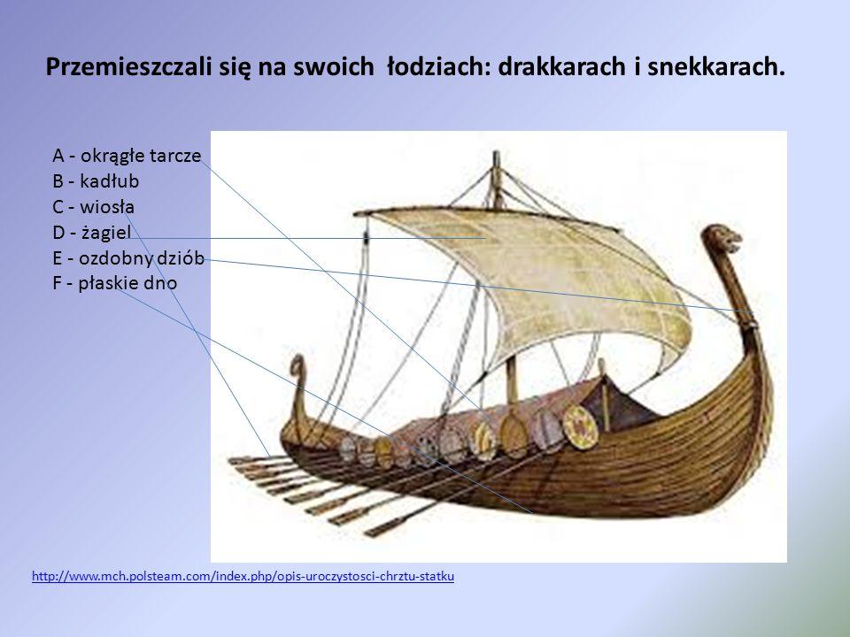 Przemieszczali się na swoich łodziach: drakkarach i snekkarach. A - okrągłe tarcze B - kadłub C - wiosła D - żagiel E - ozdobny dziób F - płaskie dno