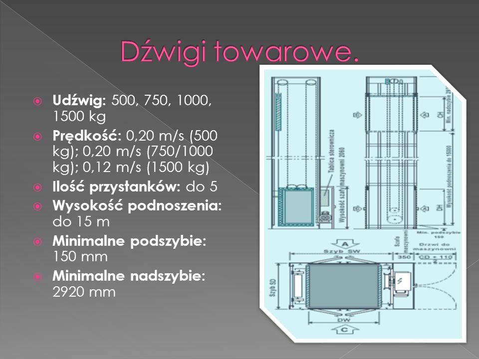  Udźwig: 500, 750, 1000, 1500 kg  Prędkość: 0,20 m/s (500 kg); 0,20 m/s (750/1000 kg); 0,12 m/s (1500 kg)  Ilość przystanków: do 5  Wysokość podnoszenia: do 15 m  Minimalne podszybie: 150 mm  Minimalne nadszybie: 2920 mm