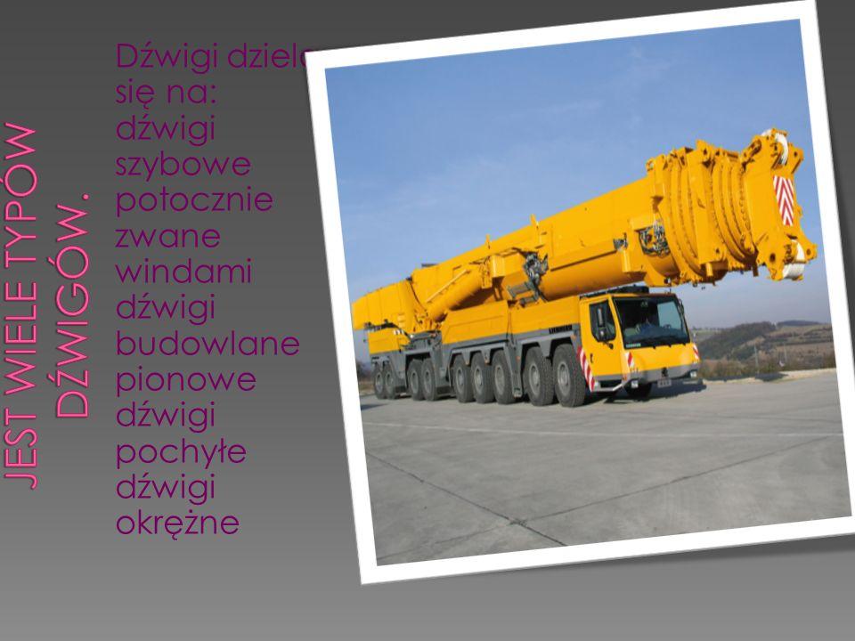 Dźwigi dzielą się na: dźwigi szybowe potocznie zwane windami dźwigi budowlane pionowe dźwigi pochyłe dźwigi okrężne