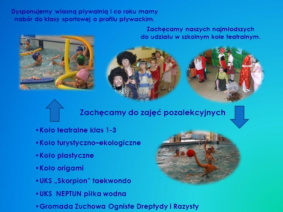 Dysponujemy własną pływalnią i co roku mamy nabór do klasy sportowej o profilu pływackim.