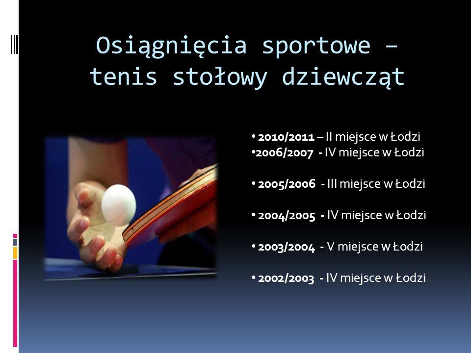 Osiągnięcia sportowe – tenis stołowy dziewcząt 2010/2011 – II miejsce w Łodzi 2006/2007 - IV miejsce w Łodzi 2005/2006 - III miejsce w Łodzi 2004/2005