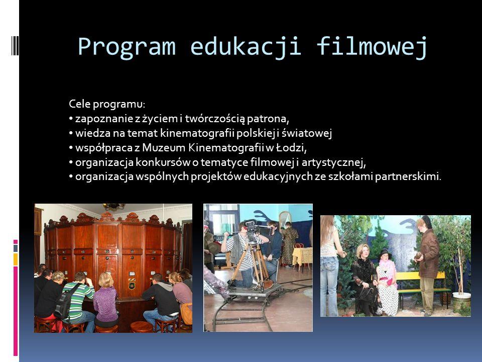 Program edukacji filmowej Cele programu: zapoznanie z życiem i twórczością patrona, wiedza na temat kinematografii polskiej i światowej współpraca z M