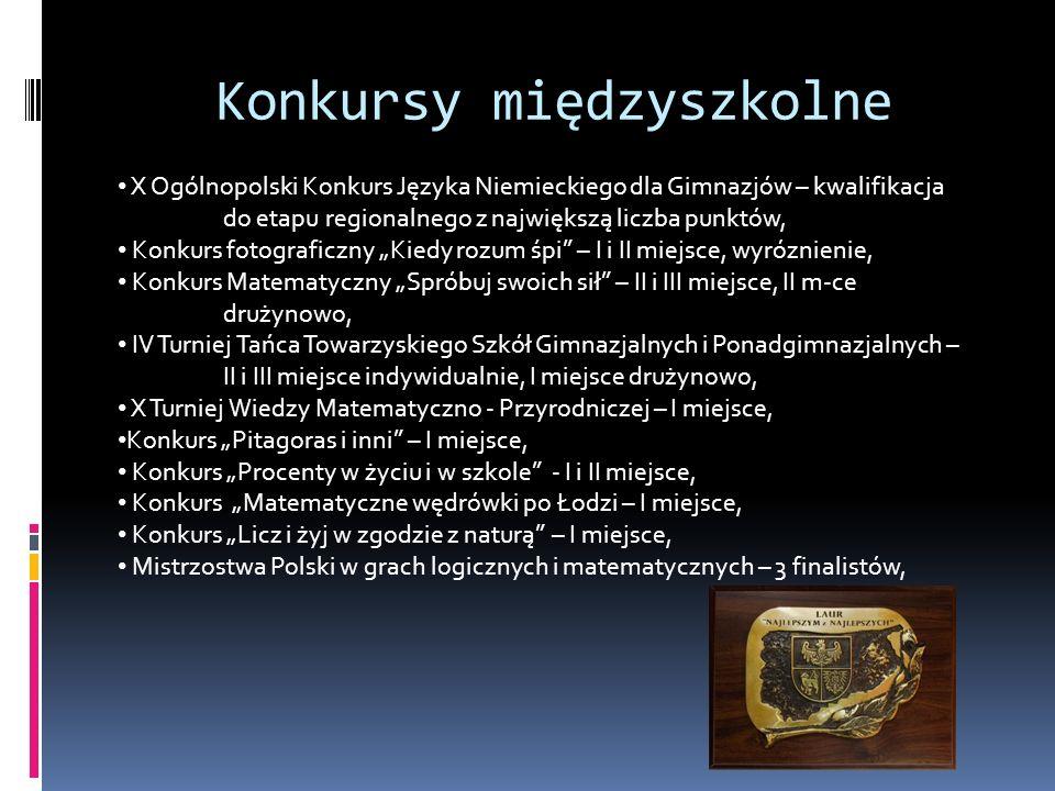 Konkursy międzyszkolne X Ogólnopolski Konkurs Języka Niemieckiego dla Gimnazjów – kwalifikacja do etapu regionalnego z największą liczba punktów, Konk