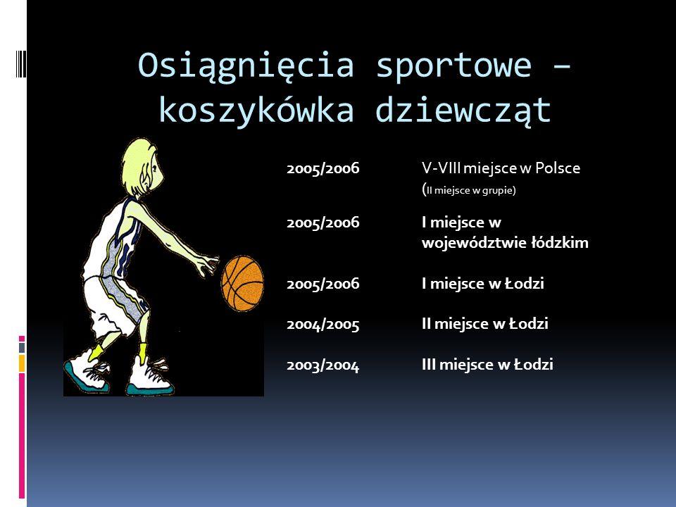 Osiągnięcia sportowe – koszykówka dziewcząt 2005/2006 V-VIII miejsce w Polsce ( II miejsce w grupie) 2005/2006 I miejsce w województwie łódzkim 2005/2