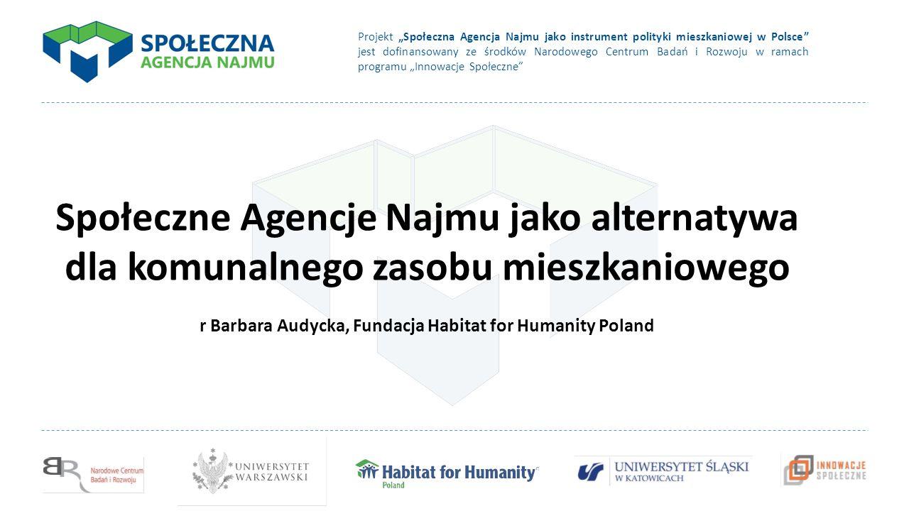 """Projekt """"Społeczna Agencja Najmu jako instrument polityki mieszkaniowej w Polsce jest dofinansowany ze środków Narodowego Centrum Badań i Rozwoju w ramach programu """"Innowacje Społeczne Społeczne Agencje Najmu jako alternatywa dla komunalnego zasobu mieszkaniowego r Barbara Audycka, Fundacja Habitat for Humanity Poland"""