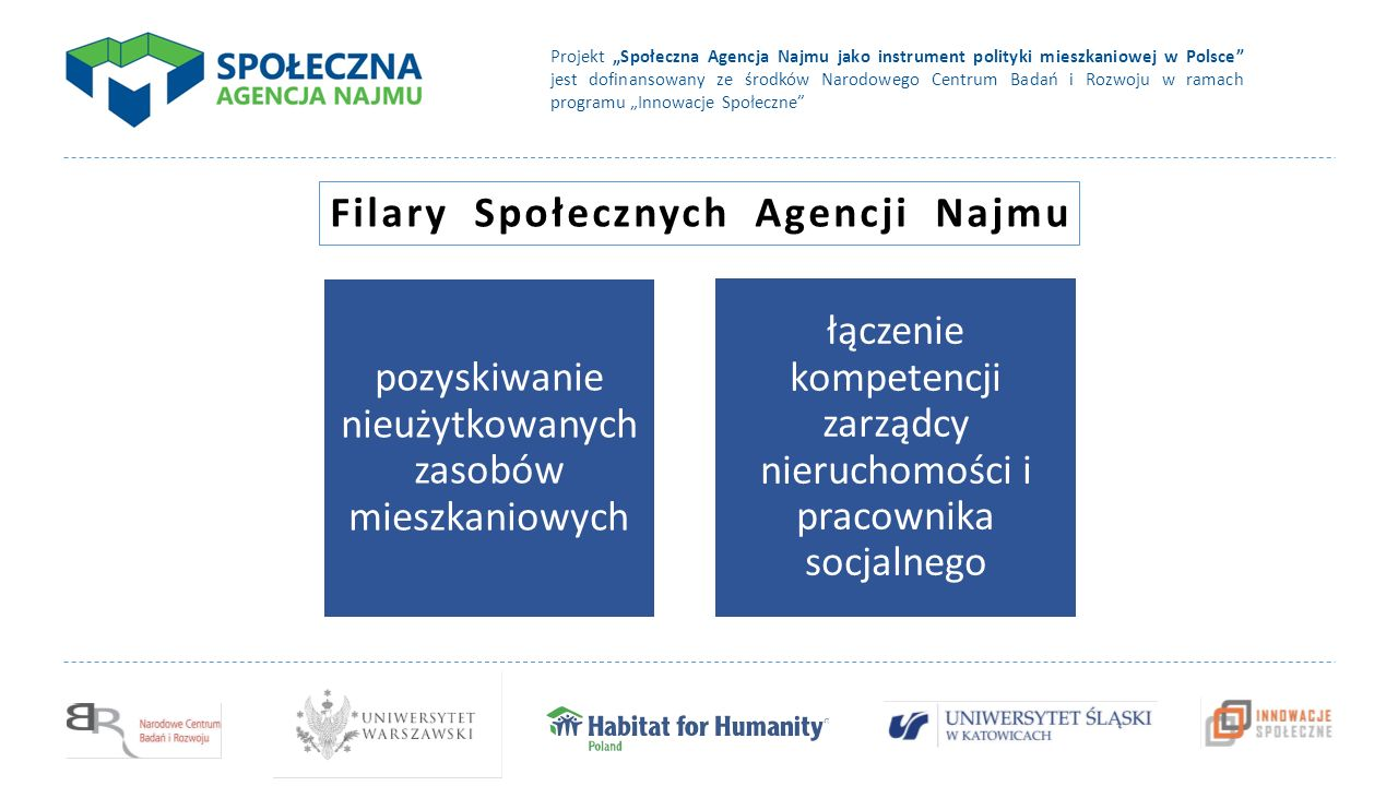 """Projekt """"Społeczna Agencja Najmu jako instrument polityki mieszkaniowej w Polsce jest dofinansowany ze środków Narodowego Centrum Badań i Rozwoju w ramach programu """"Innowacje Społeczne pozyskiwanie nieużytkowanych zasobów mieszkaniowych łączenie kompetencji zarządcy nieruchomości i pracownika socjalnego Filary Społecznych Agencji Najmu"""