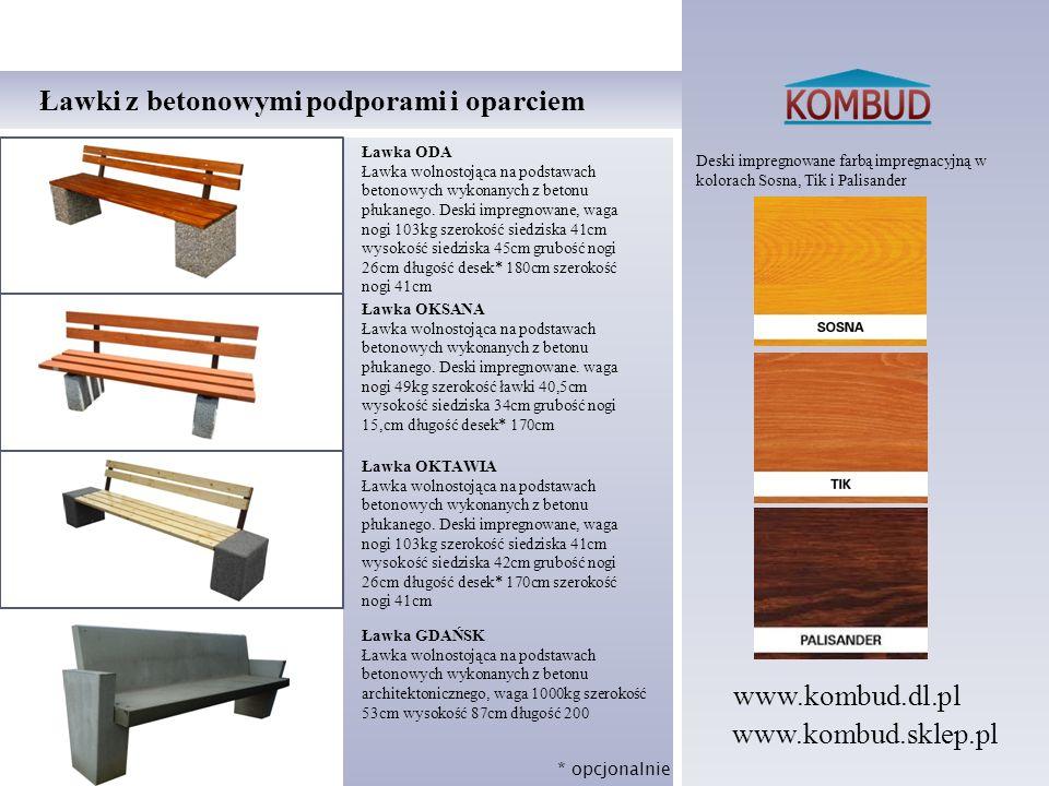 Deski impregnowane farbą impregnacyjną w kolorach Sosna, Tik i Palisander Ławki z betonowymi podporami i oparciem Ławka ODA Ławka wolnostojąca na pods