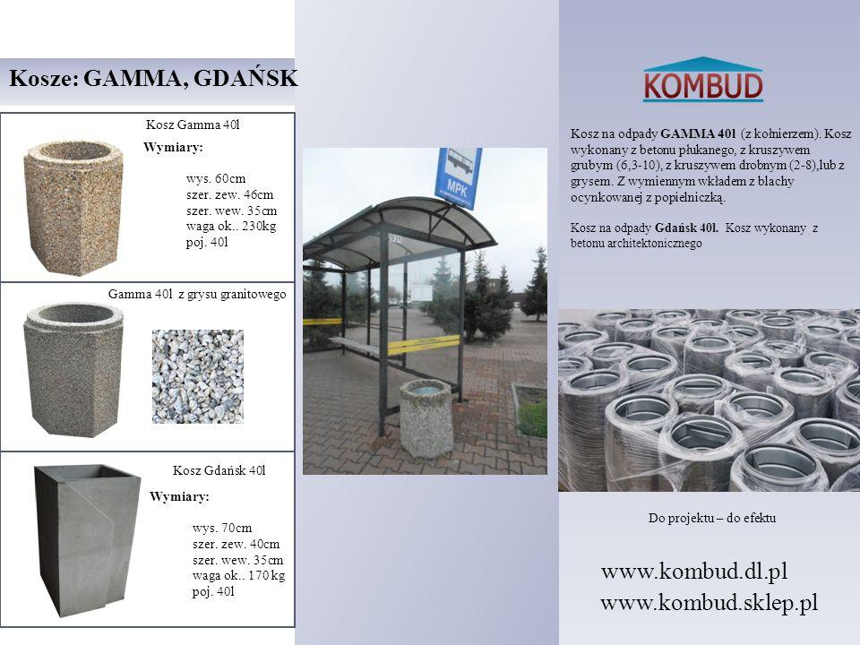 Kosz na odpady GAMMA 40l (z kołnierzem). Kosz wykonany z betonu płukanego, z kruszywem grubym (6,3-10), z kruszywem drobnym (2-8),lub z grysem. Z wymi