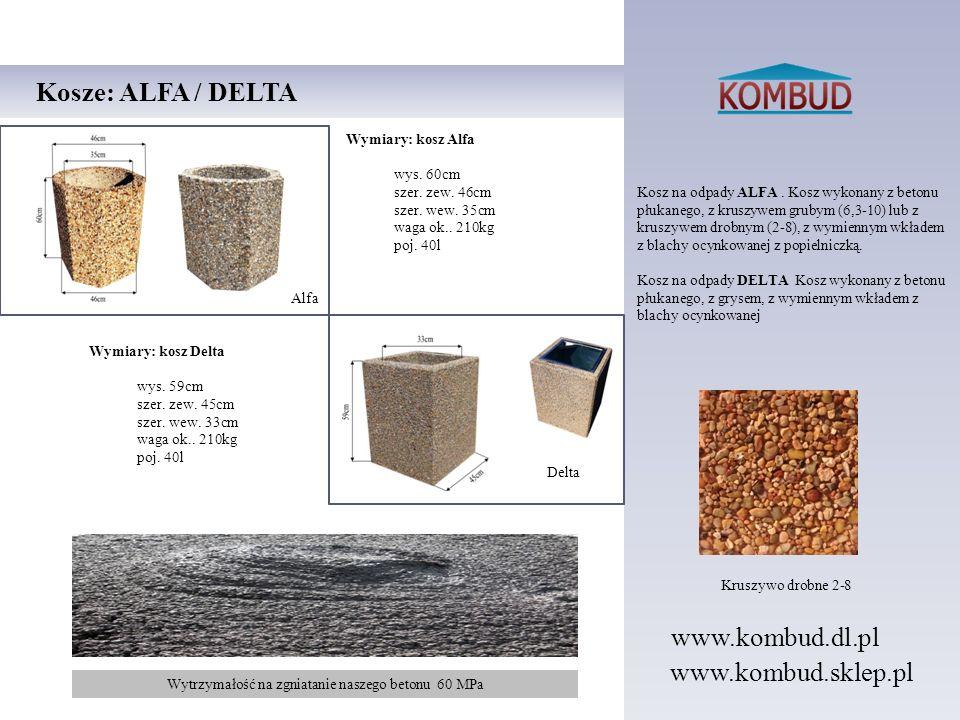 Kosz na odpady ALFA. Kosz wykonany z betonu płukanego, z kruszywem grubym (6,3-10) lub z kruszywem drobnym (2-8), z wymiennym wkładem z blachy ocynkow
