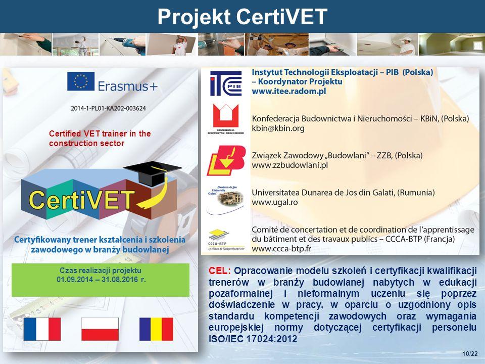 Kliknij, aby edytować styl Projekt CertiVET Czas realizacji projektu 01.09.2014 – 31.08.2016 r.