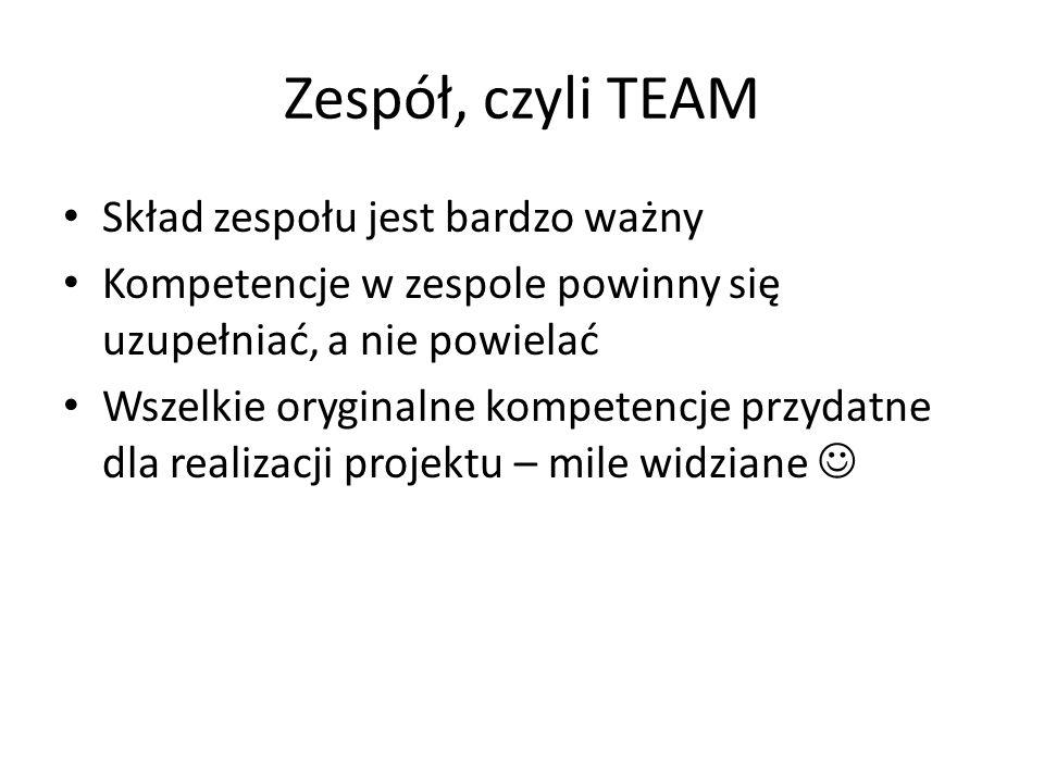 Zespół, czyli TEAM Skład zespołu jest bardzo ważny Kompetencje w zespole powinny się uzupełniać, a nie powielać Wszelkie oryginalne kompetencje przydatne dla realizacji projektu – mile widziane