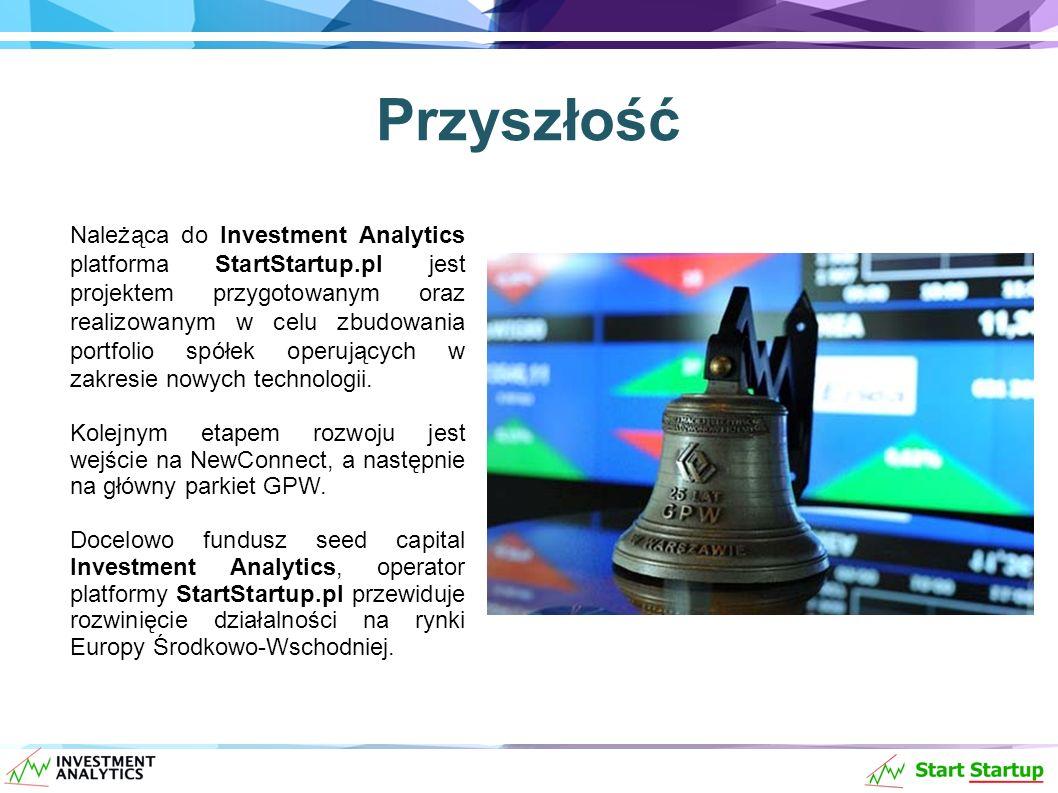 Przyszłość Należąca do Investment Analytics platforma StartStartup.pl jest projektem przygotowanym oraz realizowanym w celu zbudowania portfolio spółek operujących w zakresie nowych technologii.