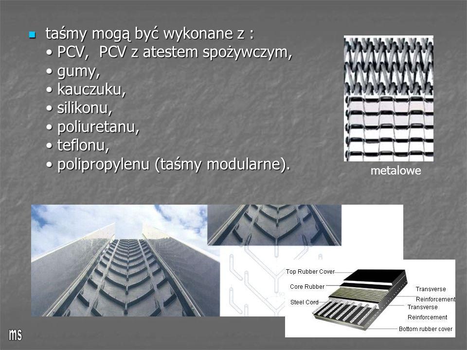 taśmy mogą być wykonane z : PCV, PCV z atestem spożywczym, gumy, kauczuku, silikonu, poliuretanu, teflonu, polipropylenu (taśmy modularne). taśmy mogą
