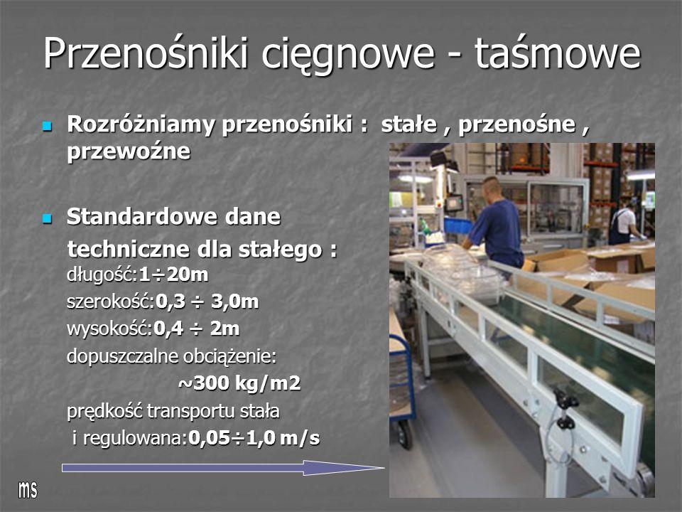 Przenośniki cięgnowe - taśmowe Rozróżniamy przenośniki : stałe, przenośne, przewoźne Rozróżniamy przenośniki : stałe, przenośne, przewoźne Standardowe dane Standardowe dane techniczne dla stałego : długość:1÷20m techniczne dla stałego : długość:1÷20m szerokość:0,3 ÷ 3,0m wysokość:0,4 ÷ 2m dopuszczalne obciążenie: ~300 kg/m2 prędkość transportu stała i regulowana:0,05÷1,0 m/s i regulowana:0,05÷1,0 m/s