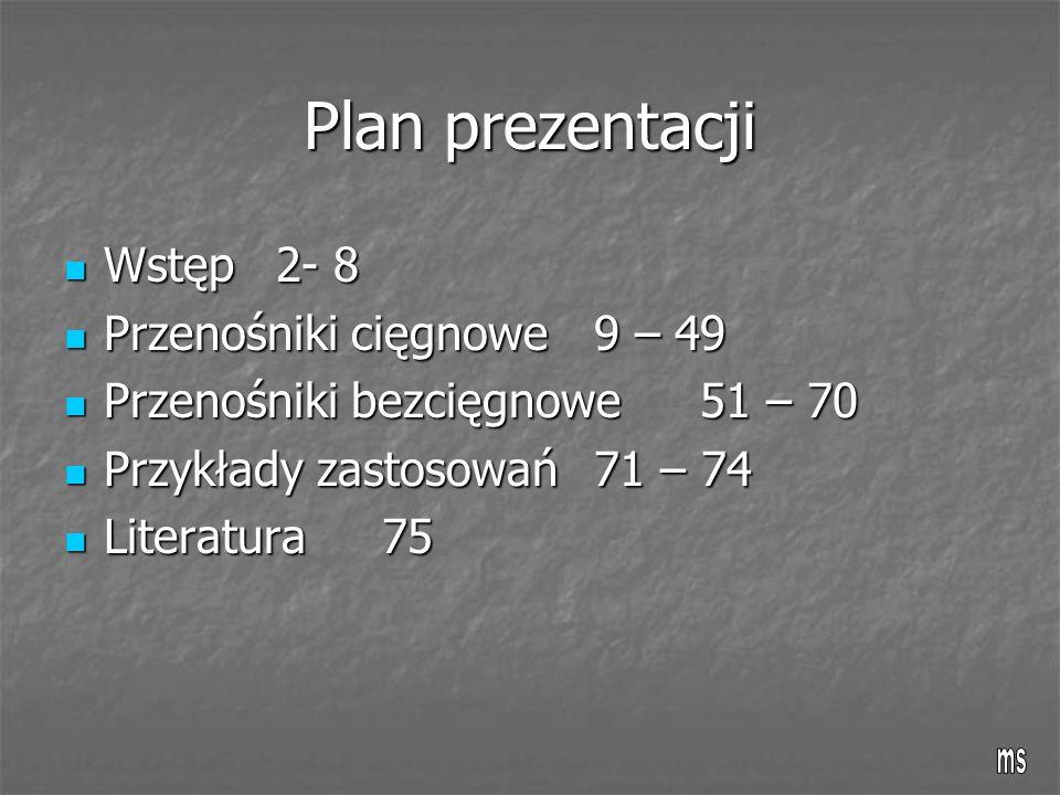 Plan prezentacji Wstęp 2- 8 Wstęp 2- 8 Przenośniki cięgnowe9 – 49 Przenośniki cięgnowe9 – 49 Przenośniki bezcięgnowe51 – 70 Przenośniki bezcięgnowe51 – 70 Przykłady zastosowań71 – 74 Przykłady zastosowań71 – 74 Literatura75 Literatura75