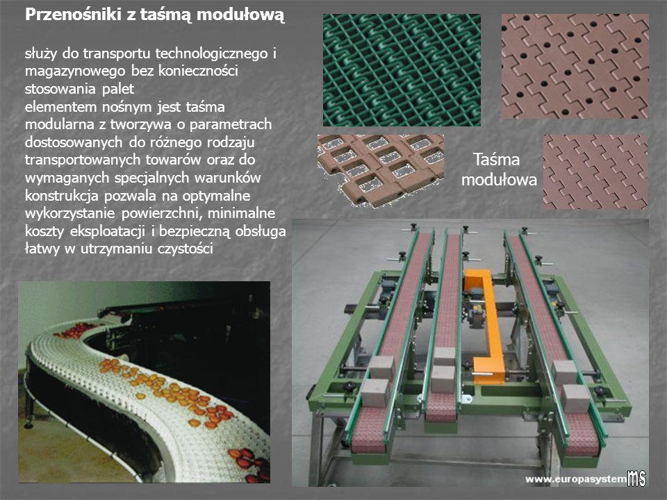 Taśma modułowa Przenośniki z taśmą modułową służy do transportu technologicznego i magazynowego bez konieczności stosowania palet elementem nośnym jest taśma modularna z tworzywa o parametrach dostosowanych do różnego rodzaju transportowanych towarów oraz do wymaganych specjalnych warunków konstrukcja pozwala na optymalne wykorzystanie powierzchni, minimalne koszty eksploatacji i bezpieczną obsługa łatwy w utrzymaniu czystości