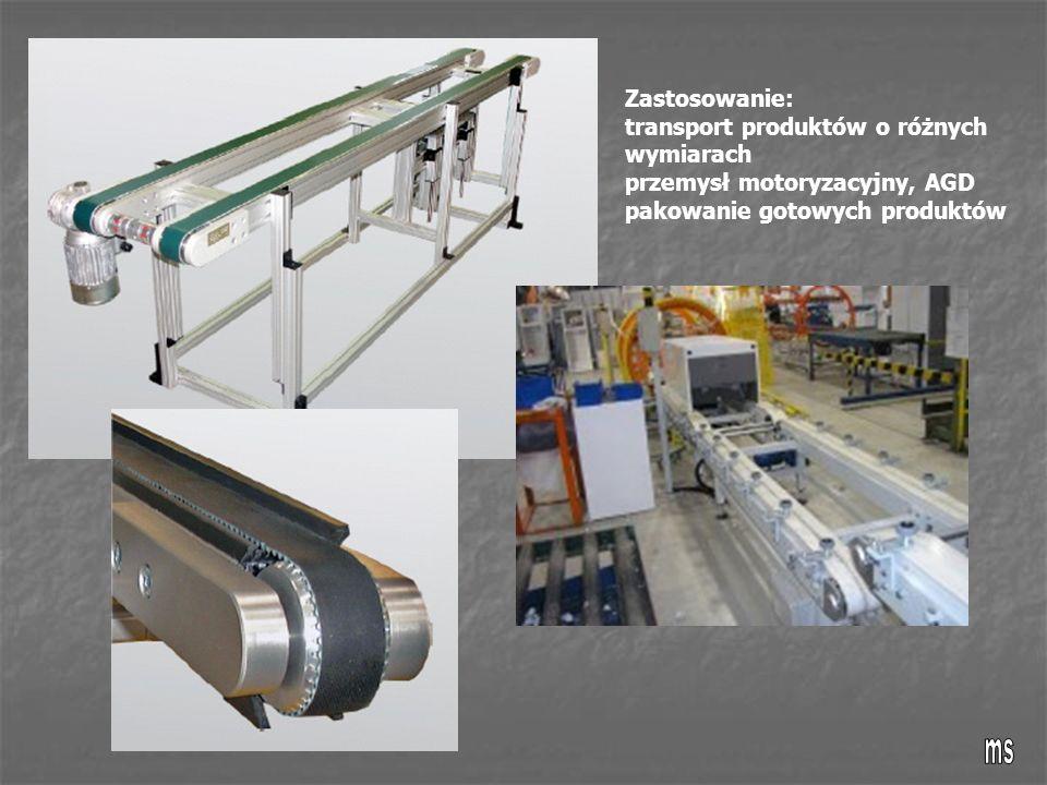 Zastosowanie: transport produktów o różnych wymiarach przemysł motoryzacyjny, AGD pakowanie gotowych produktów