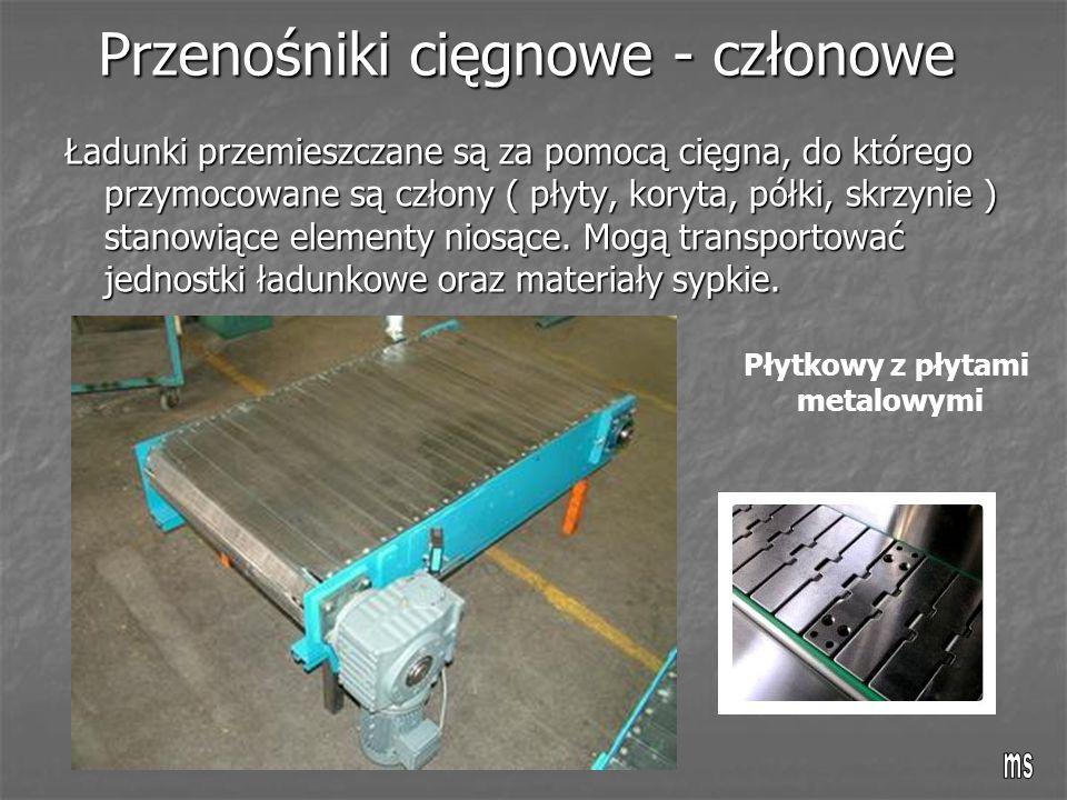 Przenośniki cięgnowe - członowe Ładunki przemieszczane są za pomocą cięgna, do którego przymocowane są człony ( płyty, koryta, półki, skrzynie ) stano