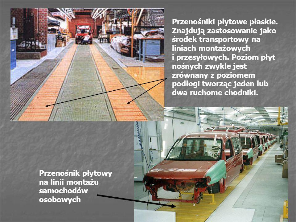 Przenośniki płytowe płaskie. Znajdują zastosowanie jako środek transportowy na liniach montażowych i przesyłowych. Poziom płyt nośnych zwykle jest zró