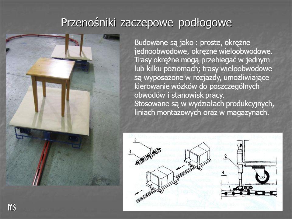 Przenośniki zaczepowe podłogowe Budowane są jako : proste, okrężne jednoobwodowe, okrężne wieloobwodowe.